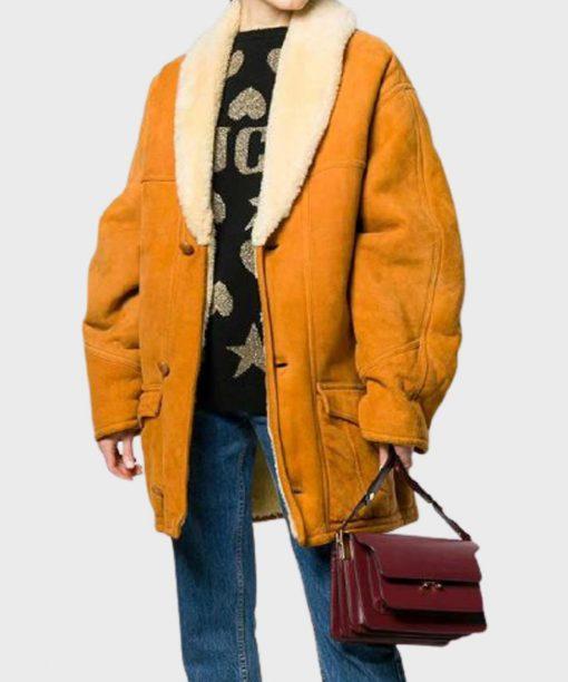 Womens Mid-Length Shearling Coat
