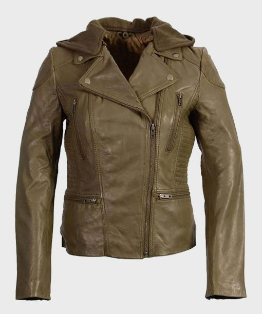 Womens Hooded Olive Motorcycle Leather Jacket