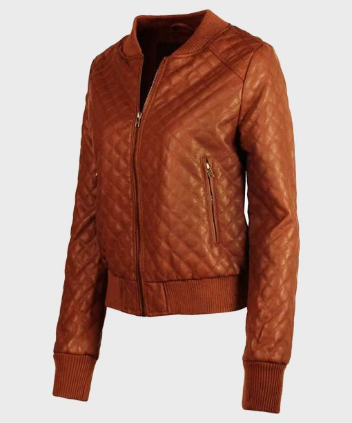 Womens Quilted Brown Bomber Leather Jacket