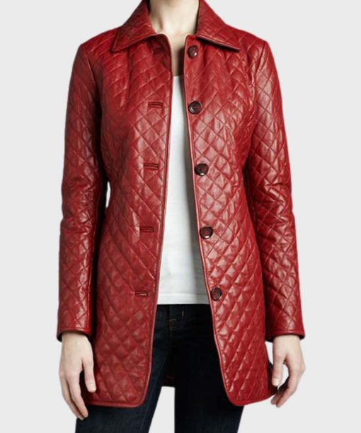 Red Stylish Quilted Leather Coat for Women's