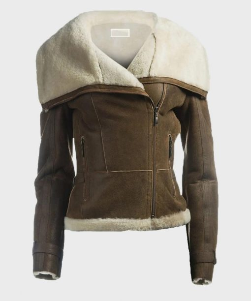 Womens Brown Leather Shearling Collar Jacket