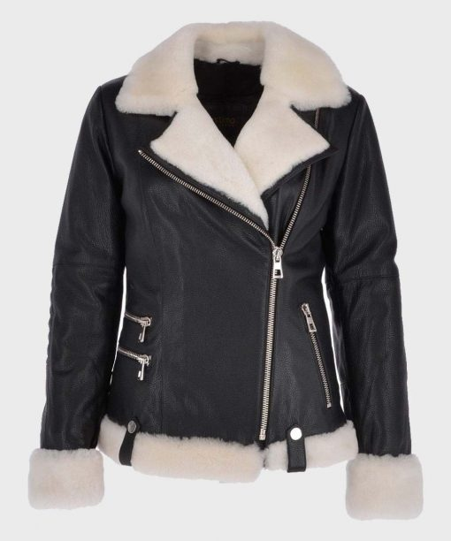 Womens Black Motorcycle Shearling Leather Jacket