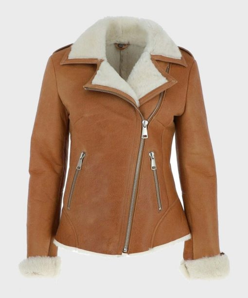 Womens Shearling Tan Brown Leather Jacket