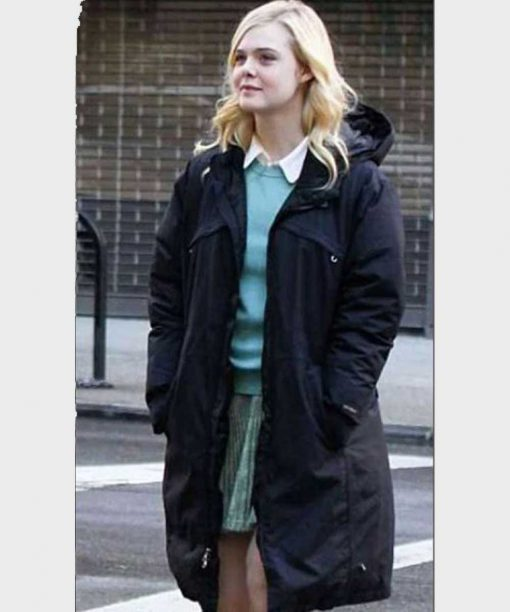 A Rainy Day In New York Elle Fanning Black Coat With Hood