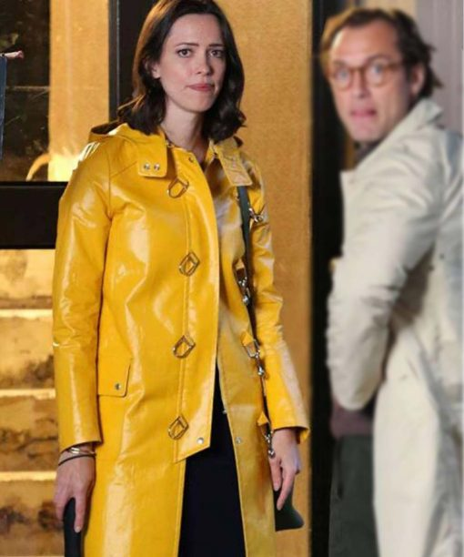 A Rainy Day In New York Yellow Leather Coat with Hood