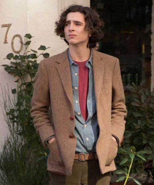 A Rainy Day in New York Timothée Chalamet Tweed Blazer
