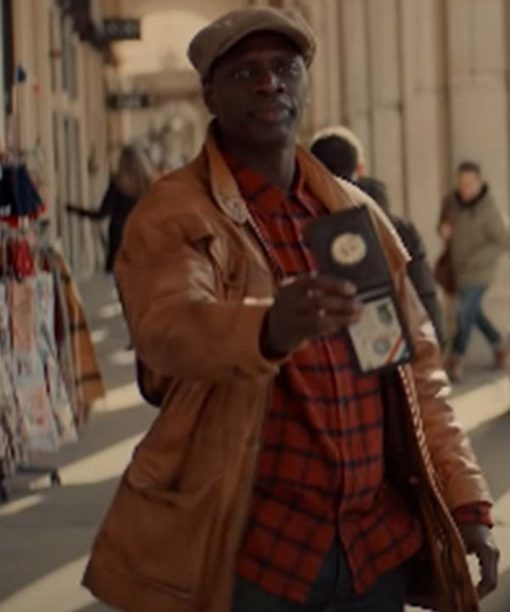 Arsene Lupin Omar Sy Brown Leather Jacket