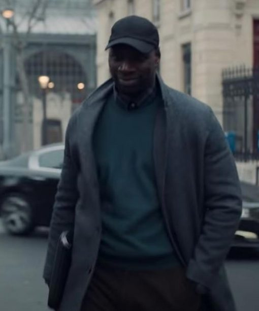 Assane Diop Arsene Lupin Grey Wool-Blend Coat