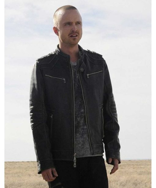 Breaking Bad Aaron Paul Black Leather Jacket