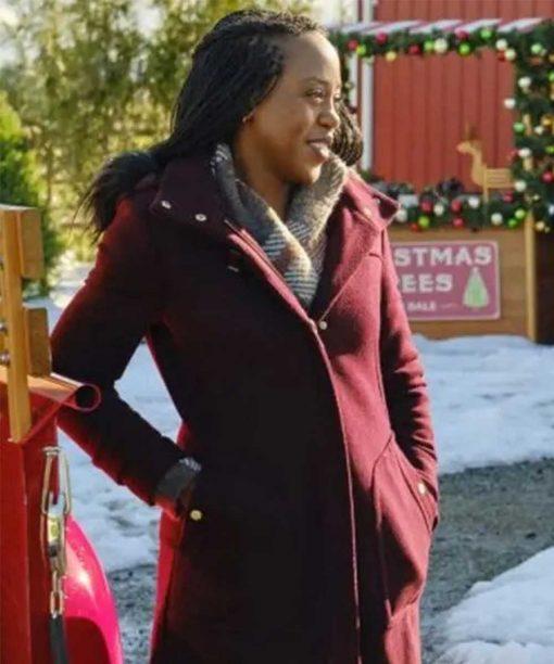 Christmas In Evergreen Bells are Ringing Rukiya Bernard Maroon Coat