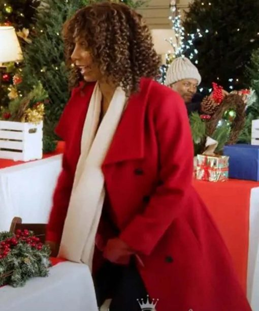 Holly Robinson Peete Christmas in Evergreen Bells Are Ringing Red Coat