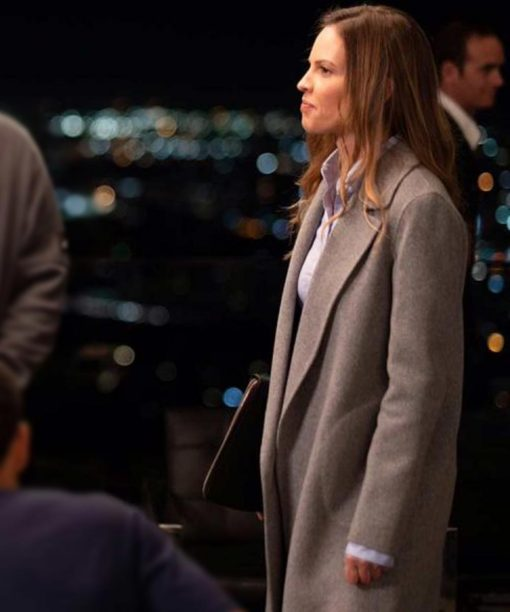 Fatale Hilary Swank Grey Trench Coat