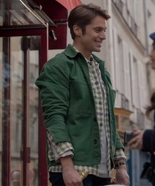 Emily In Paris Lucas Bravo Green Cotton Jacket