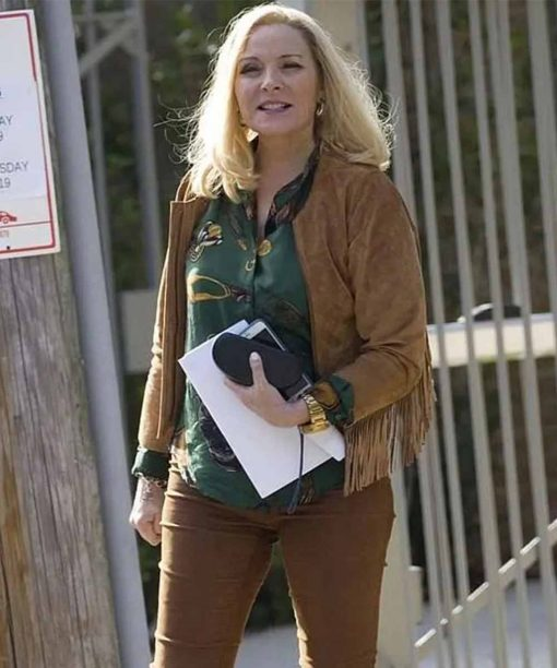 Filthy Rich Kim Cattrall Suede Leather Jacket