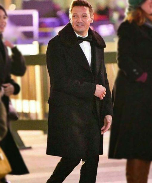 Hawkeye Jeremy Renner Black Double-Breasted Coat