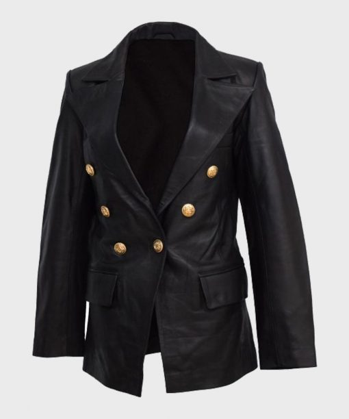 Womens Double-Breasted Leather Black Coat