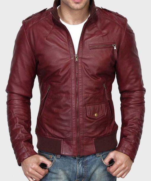Slimfit Leather Mens Burgundy Jacket