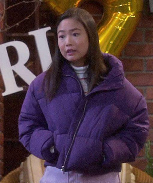 Last Man Standing Krista Marie Yu Purple Puffer Jacket