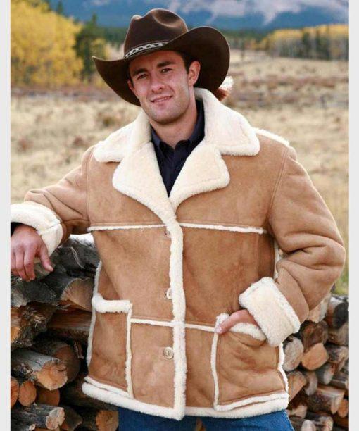 Marlboro Man Brown Suede Shearling Leather Jacket
