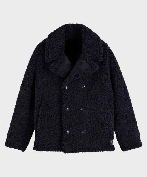 Mens Faux Shearling Black Coat