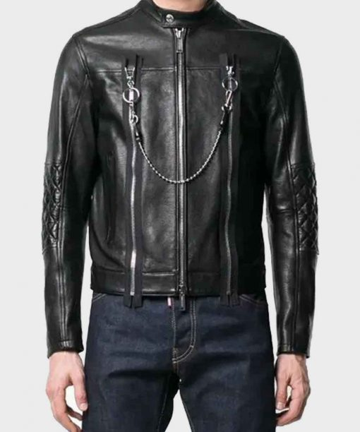 Mens Cafe Racer Black Biker Leather Jacket