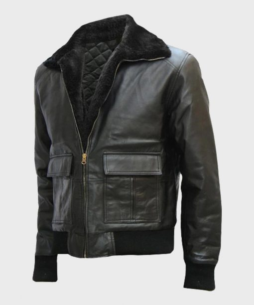 Mens Shearling Bomber Black Leather Jacket