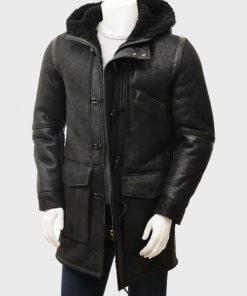 Mens Sheepskin Black Duffle Leather Coat