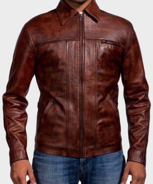 Mens Brown Distressed Shirt Style Leather Jacket