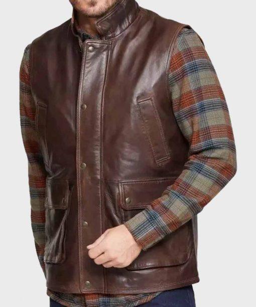 Brown Lambskin Mens Leather Vest