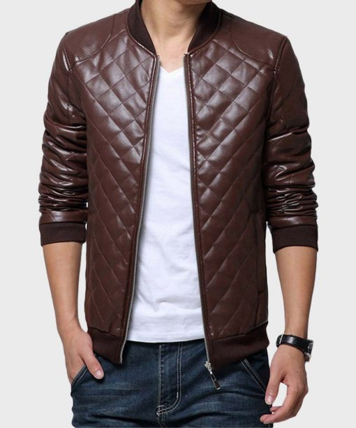 Mens Quilted Brown Bomber Leather Jacket