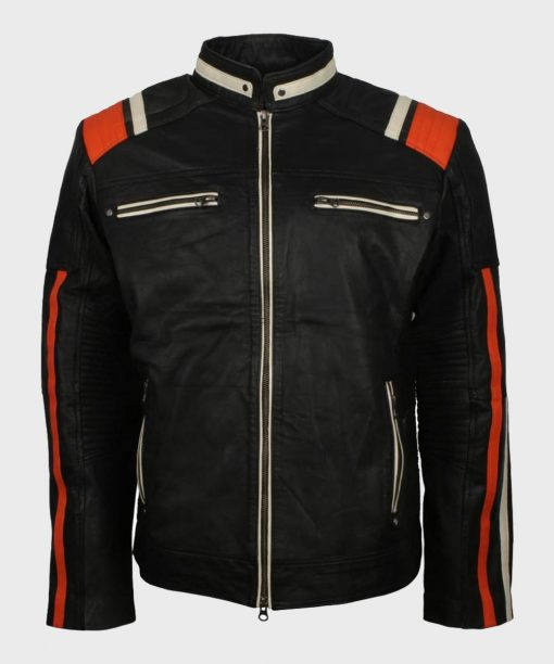 Cafe Racer Black Retro Motorcycle Leather Jacket