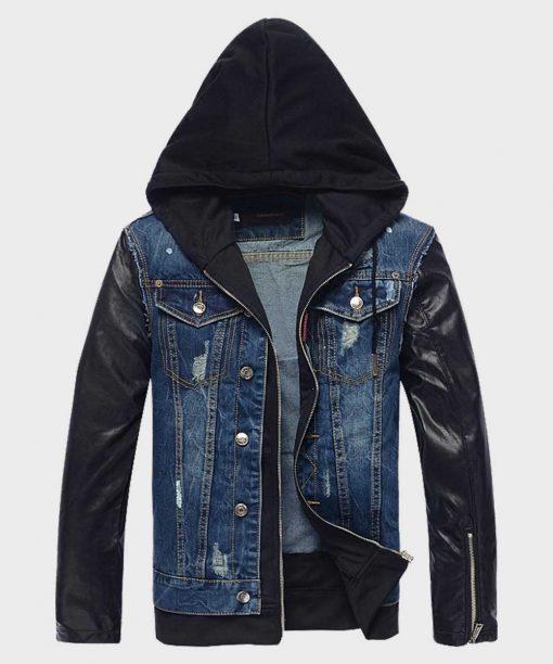 Mens Style Hooded Leather Blue Denim Jacket