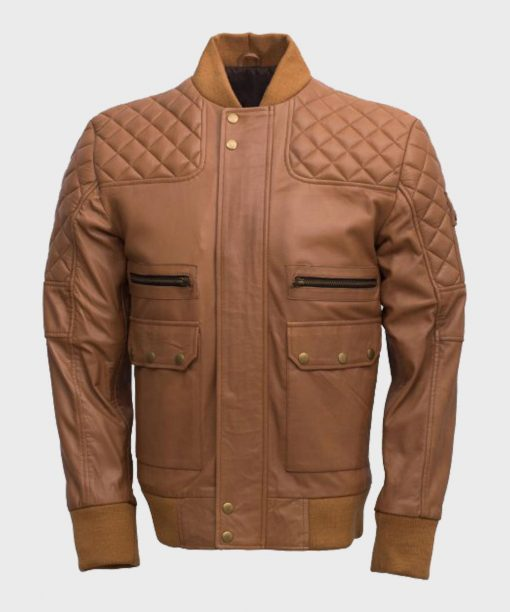 Mens Tan Brown Quilted Bomber Jacket