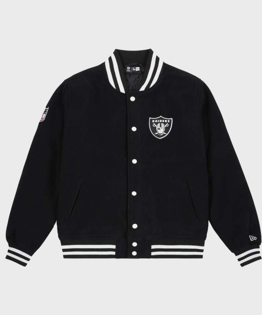 Mens Oakland Raiders Black Letterman Jacket