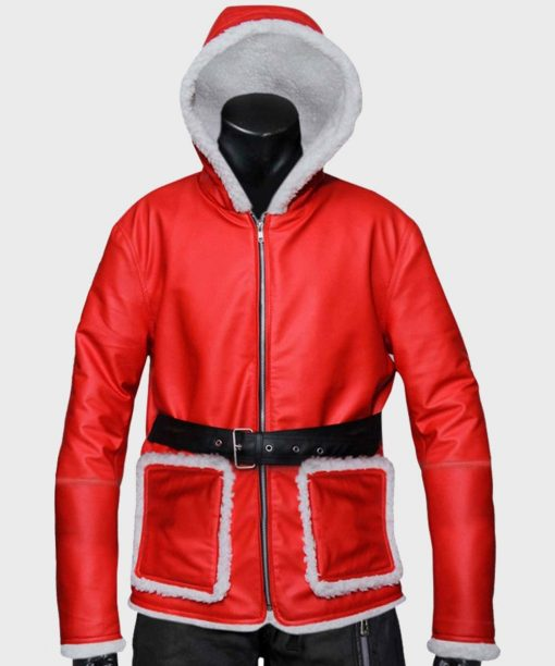 Mens Red Hooded Leather Jacket