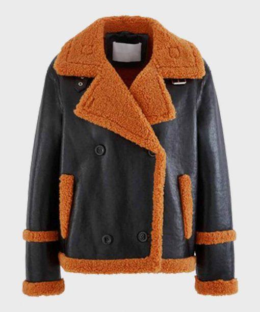 Mens Brown Shearling Sheepskin Leather Black Jacket