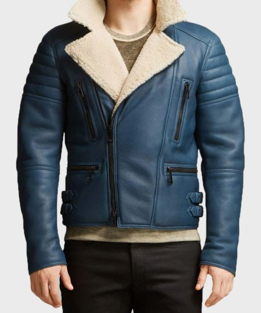 Mens Blue Motorcycle Leather Shearling Jacket