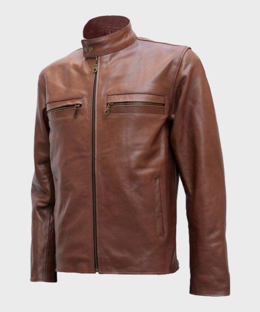 Mens Style Brown Cafe Racer Jacket