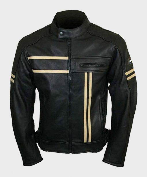 Mens Biker Black Retro Vintage Jacket