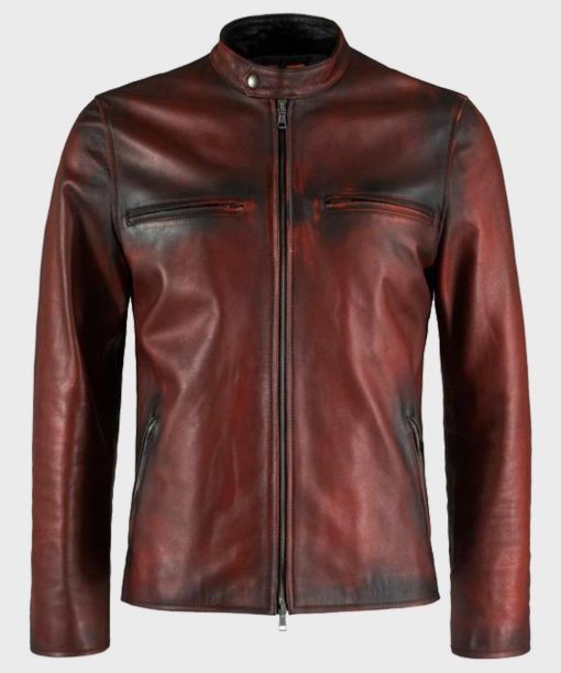 Mens Distressed Brown Vintage Biker Leather Jacket