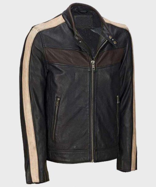 Mens Vintage Retro Café Racer Black Leather Jacket