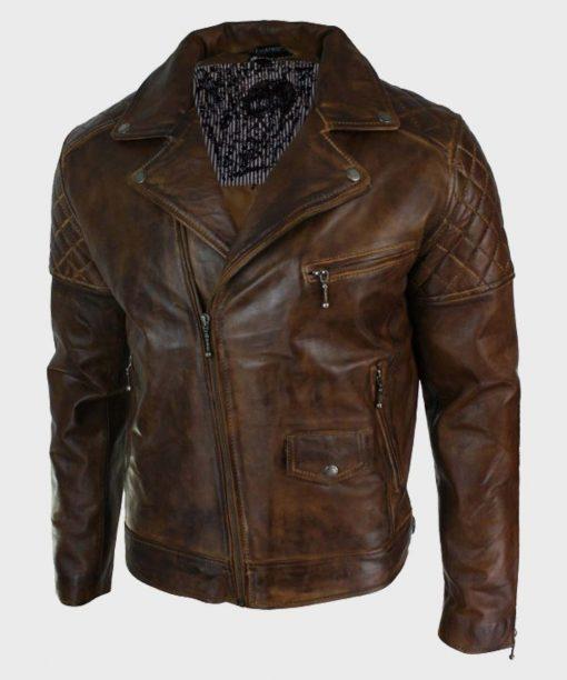 Brown Distressed Vintage Mens Biker Leather Jacket