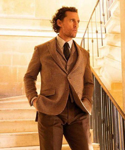 Matthew McConaughey The Gentlemen Checkered Brown Blazer
