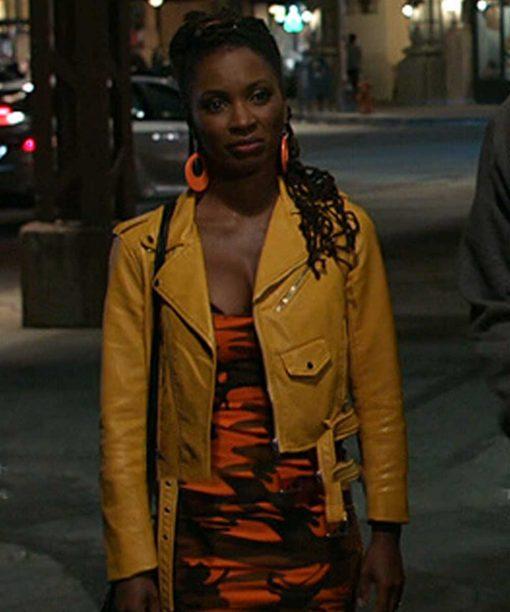 Shameless Shanola Hampton Yellow Leather Jacket