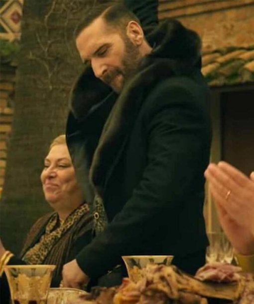 Suburra S03 Adamo Dionisi Black Shearling Coat