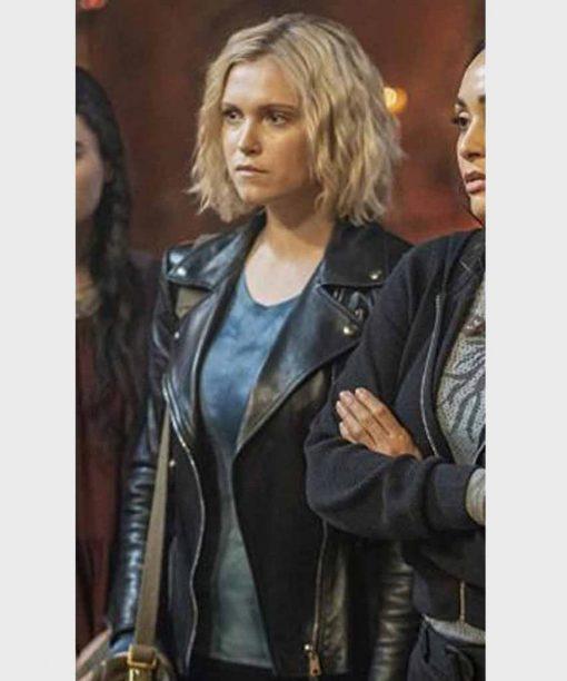 The 100 S07 Eliza Taylor Black Motorcycle Leather Jacket