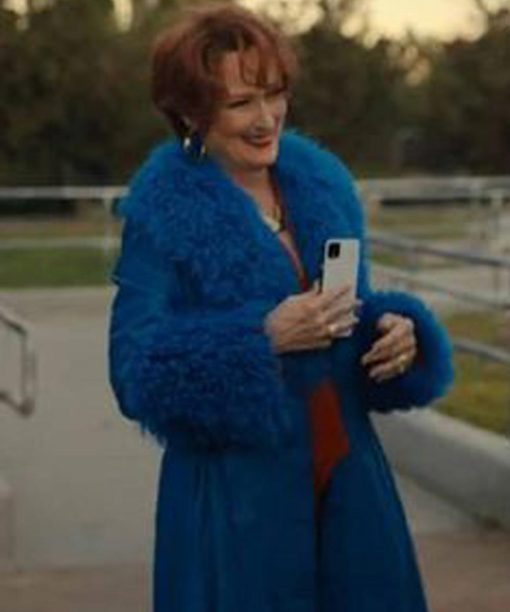 The Prom Meryl Streep Blue Fur Coat