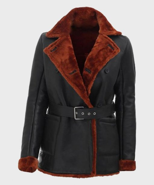 Black Leather Women's Double Breasted Shearling Coat