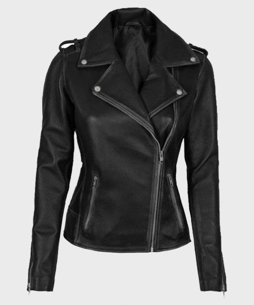 Womens Black Biker Asymmetrical Leather Jacket