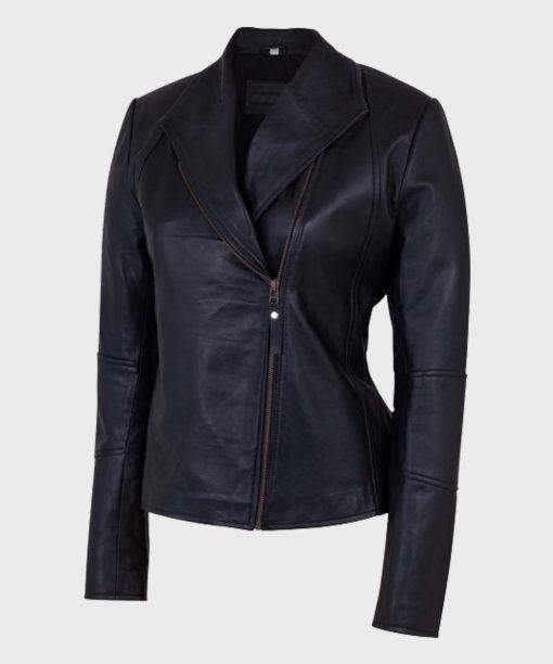 Womens Shawl Collar Black Leather Jacket